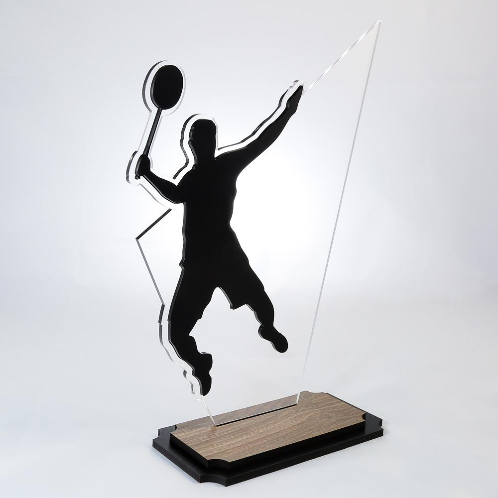 Troféu de Badminton em Acrílico e Madeira Série Black Piano | Top Troféus