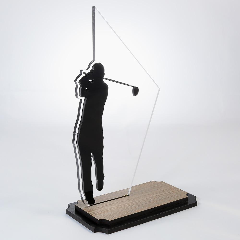 Troféu de Golf em Acrílico e Madeira Série Black Piano | Top Troféus