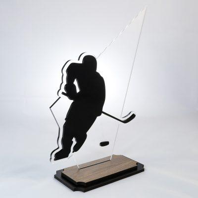 Troféu de Hockey em Acrílico e Madeira Série Black Piano | Top Troféus