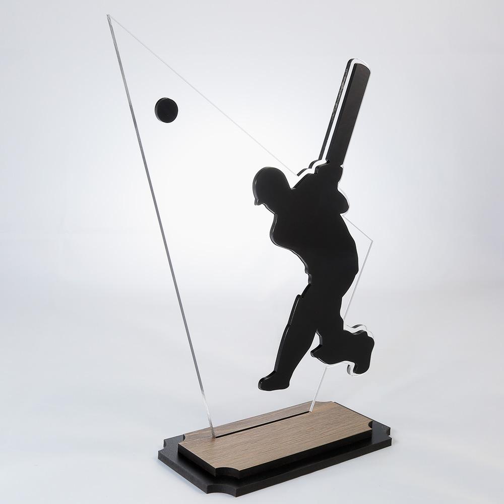 Troféu de Cricket em Acrílico e Madeira Série Black Piano | Top Troféus