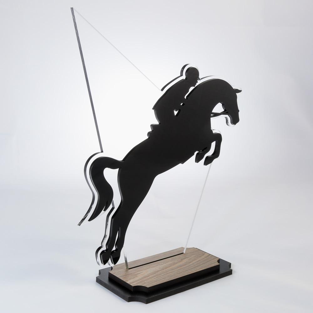 Troféu de Equitação em Acrílico e Madeira Série Black Piano | Top Troféus
