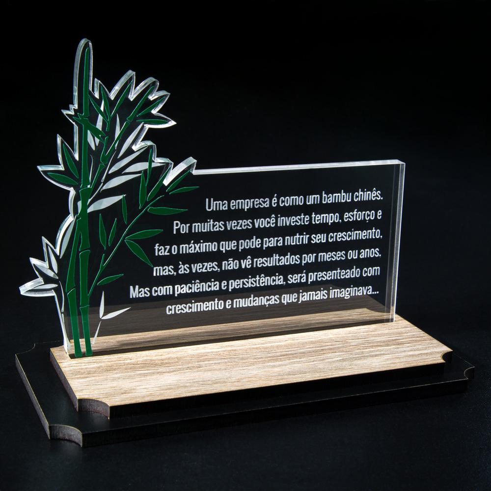Placa Corporativa Bambu em Acrílico e Madeira | Top Troféus