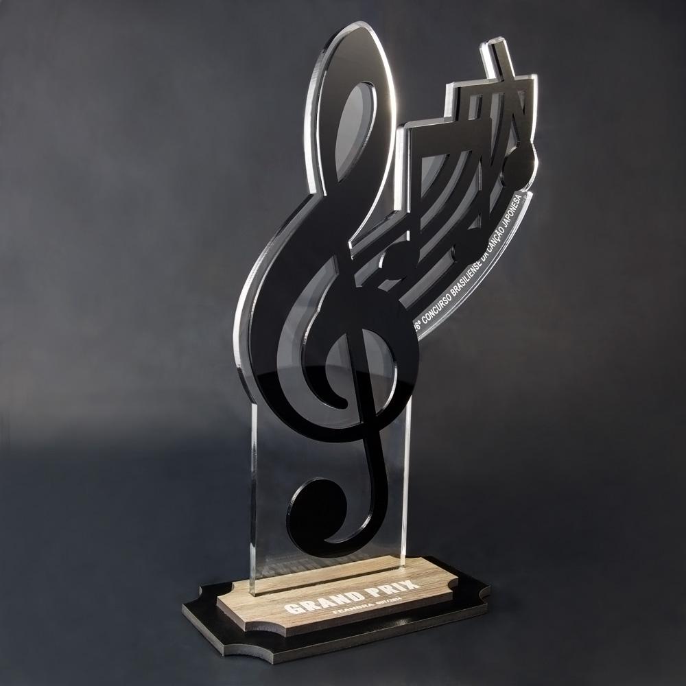 Troféu de Música / karaokê em Acrílico e Madeira | Top Troféus
