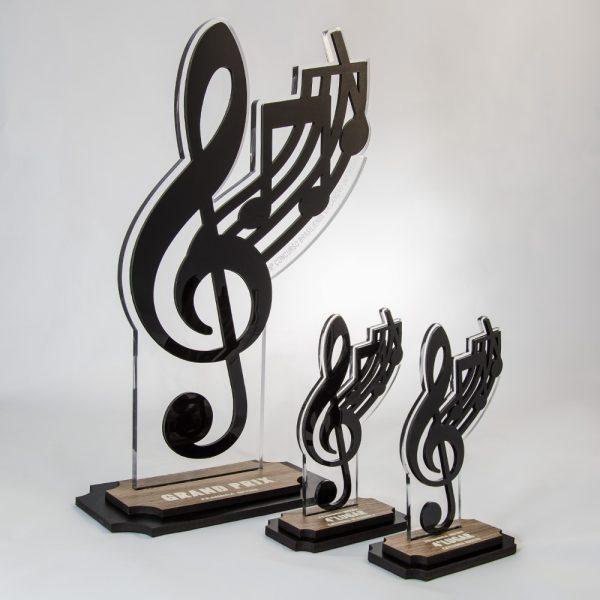 Troféu de Karaokê/Música em Acrílico e Madeira Série Black Piano   Top Troféus