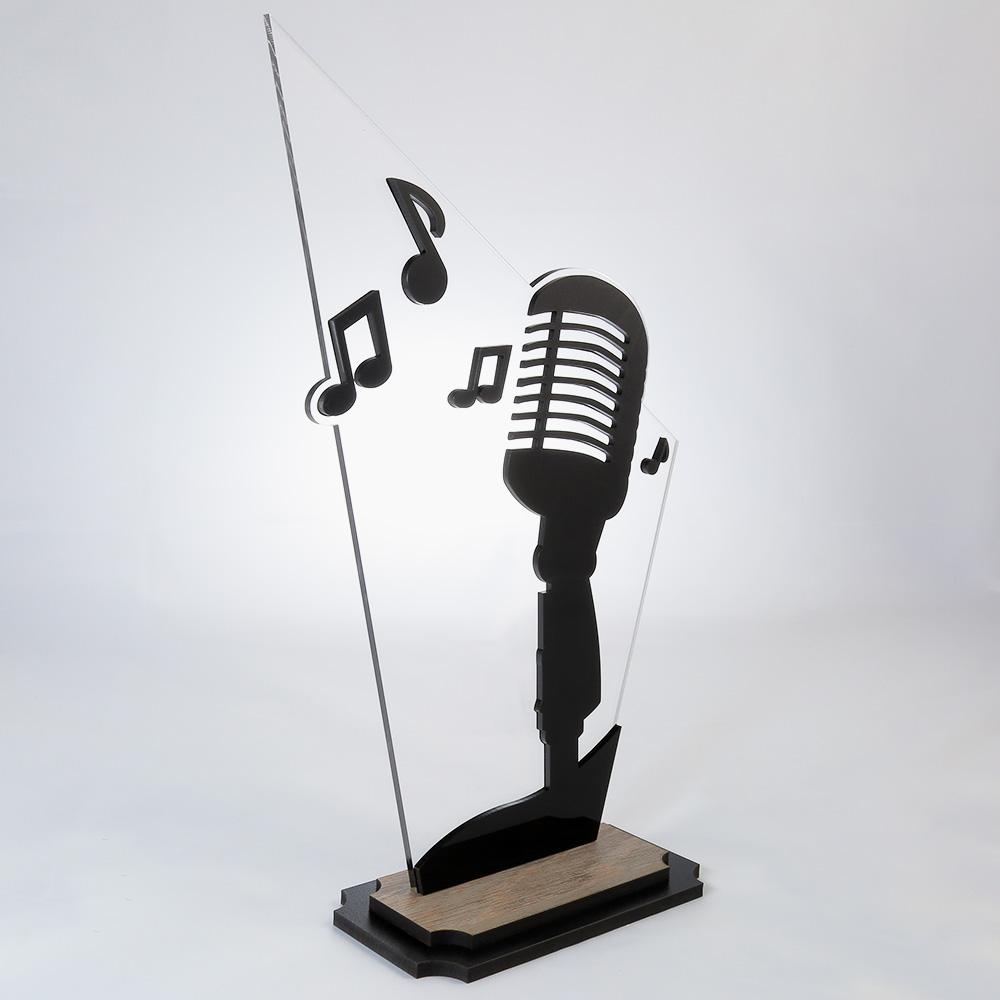 Troféu de Karaokê/Música em Acrílico e Madeira Série Black Piano | Top Troféus