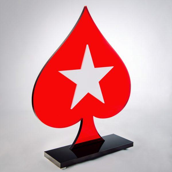 Troféu de Poker em Acrílico Série Dark Red | Top Troféus