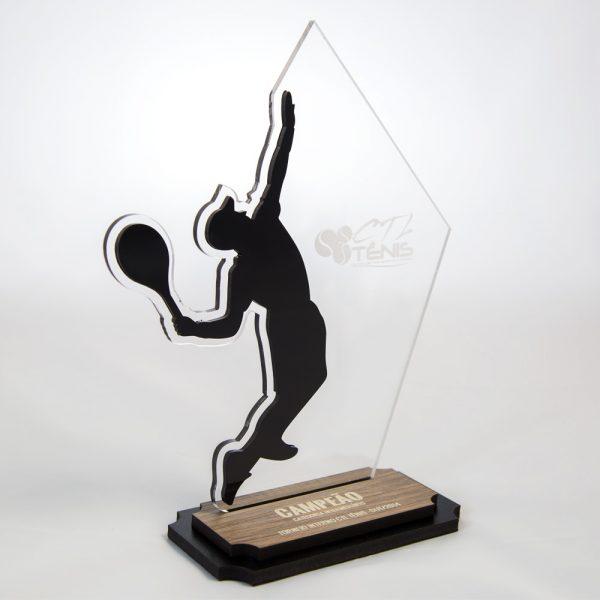 Troféu de Tênis de Campo em Acrílico e Madeira   Top Troféus