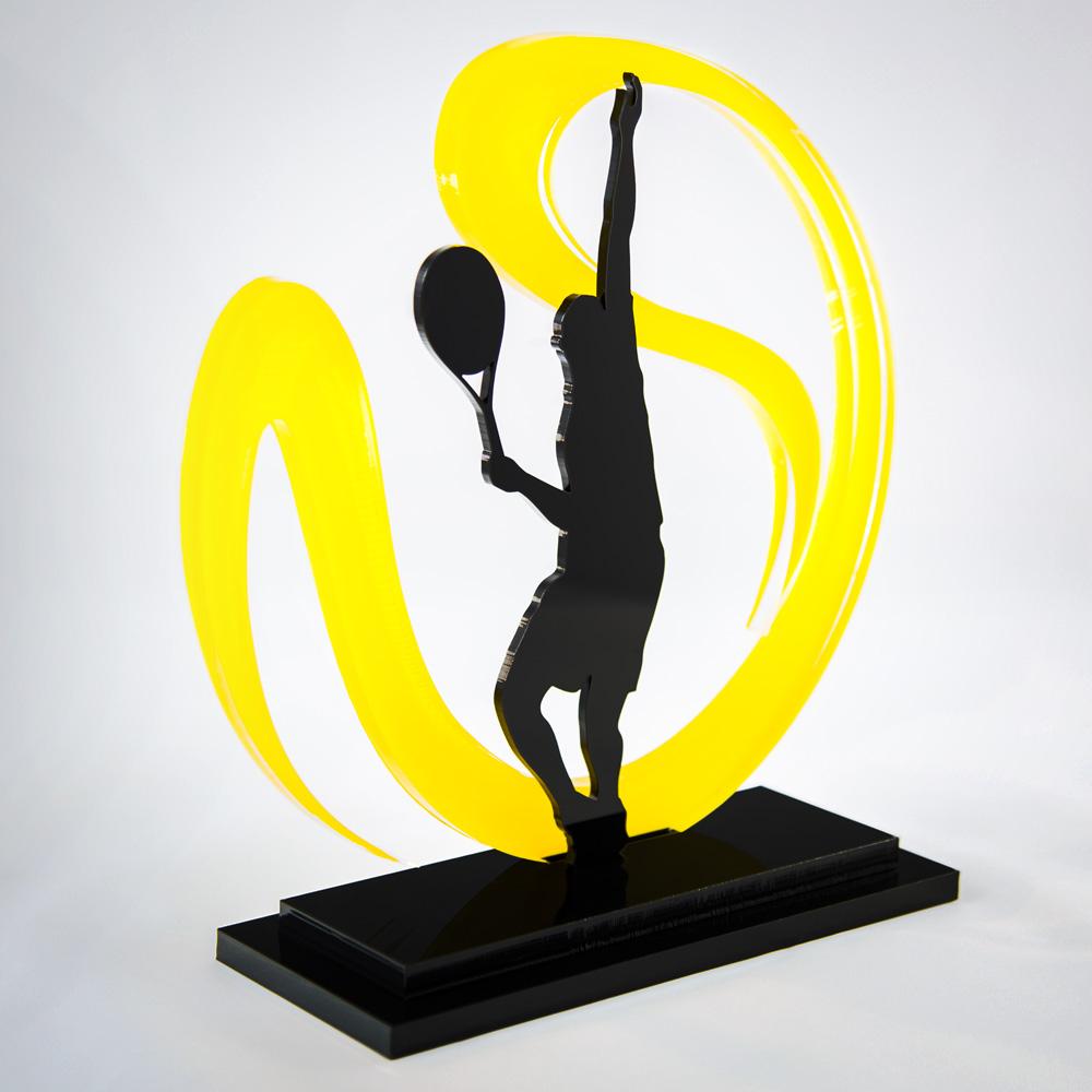Troféu de Tênis em Acrílico Série Dark Yellow | Top Troféus