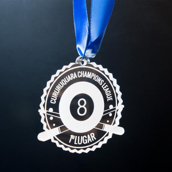 Medalha de Bilhar Bola 8 | TOPTROFÉUS